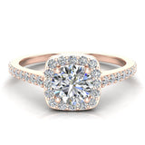 0.90 ct tw Cushion Halo Petit Engagement Ring 14K Gold (G,VS) - Rose Gold