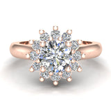 Classic Floral Halo Diamond Engagement Rings Round brilliant diamond ring 14K Gold 1.30 carat (H,SI) - Rose Gold