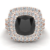 Black Diamond Cushion Cut Double Halo Diamond wedding rings for women 14K Gold 3.80 ctw (I,I1) - Rose Gold