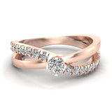 Minimalist Twin Shank Promise Diamond Ring 14K Gold 0.40 CTW (I,I1) - Rose Gold