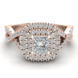 Twists Square Halo Princess Cut Engagement Ring 14K Gold 0.90 Ctw Diamonds (G,I1) - Rose Gold