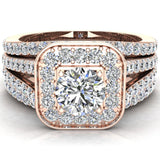 Round Cut Diamond Cushion Halo Split Shank Ring Set  w Enhancer Bands 14K Gold (G,I2) - Rose Gold