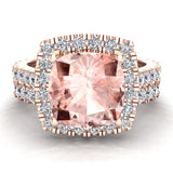 Pink Morganite Cushion Cut Halo Diamond wedding rings for women 18K Gold 3.28 ctw (G,VS) - Rose Gold