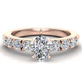 Engagement Rings for Women - Oval Cut Diamond 18K Gold  0.60 ct GIA Certificate - Rose Gold