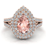 Pear Cut Pink Morganite Double Halo Engagement Ring 14K Gold (I,I1) - Rose Gold