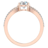 Magnificent Solitaire Round Diamond Trio Split Shank Engagement Ring 1.40 ctw 18K Gold (G,SI) - Rose Gold