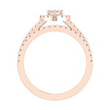 Statement Band Marquise Cut Halo Diamond Engagement Ring Baguettes 1.43 Carat Total 18K Gold (G,SI) - Rose Gold