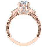 Moissanite Engagement Ring for Women 7.30 mm 4.85 carat Past Present Future Style 14K Gold (G,SI) - Rose Gold