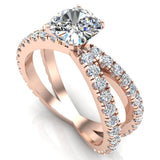 X Cross Split Shank Square Cushion Shape Diamond Engagement Ring 1.75 carat Total 14K Gold - Rose Gold