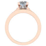 Princess Diamond Cathedral  Accent Engagement Ring Set in 14K Gold (G,I1) - Rose Gold