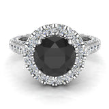 Black Diamond Engagement Rings 14K Gold Halo rings for women 4.15 carat (I,I1) - White Gold