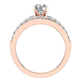 Two Row Solitaire Diamond Engagement Ring Set 14K Gold (I,I1) - Rose Gold