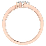 Two-Stone Ring Accent Diamond Engagement Setting 14k Gold (G,SI) - Rose Gold