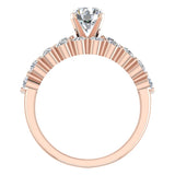 2.07 Carat Shared-Prong setting Band Wedding Ring Set  w/ Enhancer Bands 14K Gold (G,SI) - Rose Gold