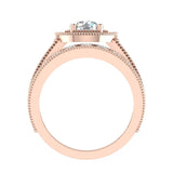 2.24 Carat Solitaire Diamond Halo And Simple Studded Shank Wedding Ring Set 14K Gold (I,I1) - Rose Gold