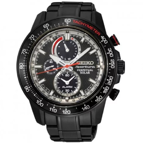 Sportura Solar Chronograph Black Dial Black Ion-plated Men's Watch
