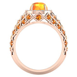 Cabochon Citrine & Diamond Cocktail Ring Halo Style Dome Shape Fashion Ring 2.93 Carat Total Weight 18K Gold - Rose Gold