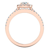 Round Cut Cushion Halo Ring Set 1.00 Carat Total Weight 14K Gold (G,VS1) - Rose Gold