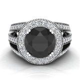 Large Black diamond engagement ring 14K Gold 9.30 mm 4.56 carat tw (I,I1) - White Gold