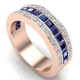 Mens Wedding Rings Blue Sapphire Gemstones rings 14K Gold  Diamond Ring 2.97 carat tw - Rose Gold