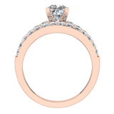 Two Row Princess Solitaire Diamond Engagement Ring Set 14K Gold (G,SI) - Rose Gold