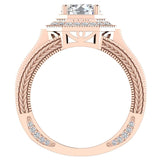 Large  Moissanite Engagement Ring 14K Gold Halo Rings for women 7.30 mm 6.35 carat (I,I1) - Rose Gold