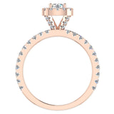 Petite Engagement rings for women Cushion Halo Round Brilliant diamond ring 14K Gold 1.05 carat (I,I1) - Rose Gold