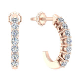 14K Gold Diamond Huggie Earrings For Women (I,  I1) - Rose Gold