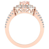 Oval Morganite Engagement Rings for Women 18K Gold Diamond Halo 2.65 carat (G,VS) - Rose Gold