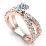 X Cross Split Shank Large Cushion Shape Diamond Engagement Ring 1.75 carat Total 18K Gold - Rose Gold