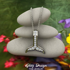 Dolphin Whale Tail Necklace 14K Gold & Diamond (I,I1)