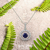 Round Cut Blue Sapphire Double Halo 2 tone necklace 14K Gold (I,I1)