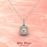 Round Cut Pink Morganite Cushion Double Halo 2 tone necklace 14K Gold (I,I1)