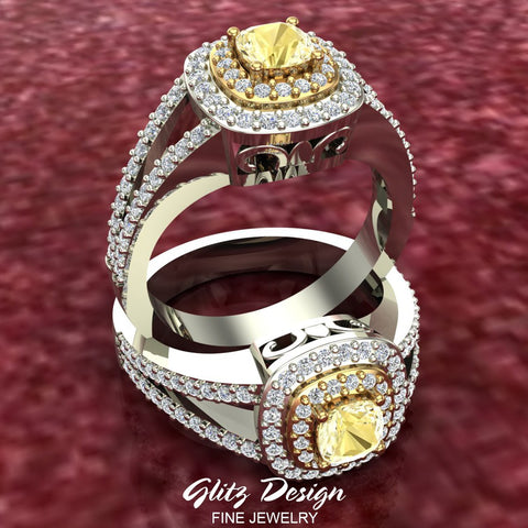 Fancy Yellow Cushion Cut Diamond V Shank Halo Engagement Ring 1.00 Carat Total Weight 18K Gold (G,VS)