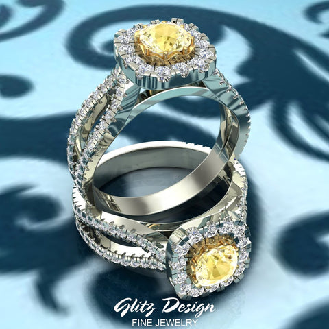 Fancy Yellow Cushion Cut Diamond Rings for Women 18K Gold (G,VS)