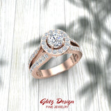 Exquisite Round Diamond Halo Split Shank Engagement Ring 1.35 ctw 14K Gold (I,I1)