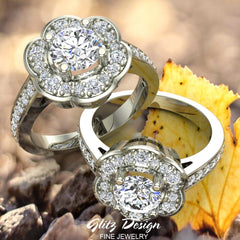 Solitaire Diamond Floral Halo Wedding Ring 18K Gold (G,VS)