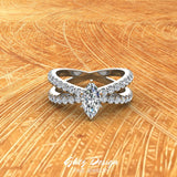 X Cross Split Shank Marquise Cut Diamond Engagement Ring 1.75 carat Total 14K Gold