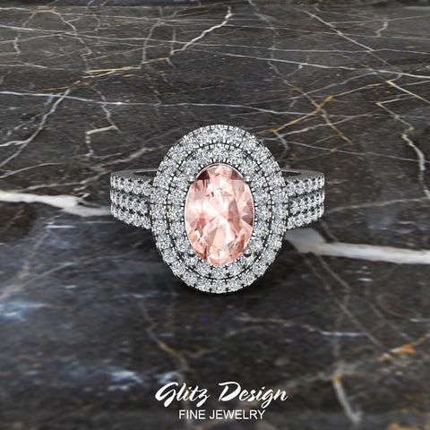 Engagement Ring for Women Oval Pink Morganite Double Halo Diamond Ring 14K Gold 2.65 carat (I,I1)