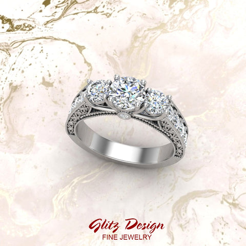 Diamond Engagement Rings for women 1.75 ctw Past Present Future Style 14K Gold (I, I1)