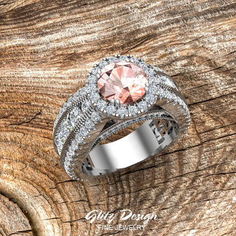 Morganite Engagement Diamond Rings 14K Gold Halo Style Channel Set Diamonds 7.30 mm (I,I1)
