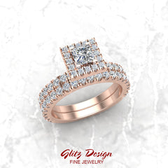 Petite Wedding Rings for Women Princess cut halo diamond bridal set 14K Gold 1.55 carat (I, I1)