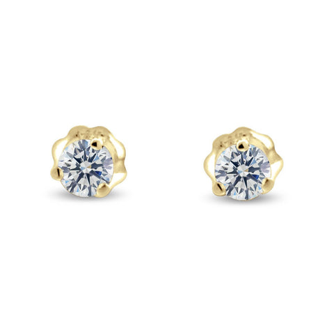 Three Prong Martini Style Diamond Earrings in 14k Gold (G,VS1) - Yellow Gold