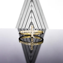 Sideways Cross Diamond Ring 18k Gold (G,VS)
