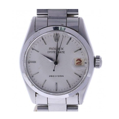 Rolex Oysterdate Precision Stainless-Steel 6466 Grey Dial Women's 29-Mm Manual Acrylic Crystal. Swiss Made Wrist Watch