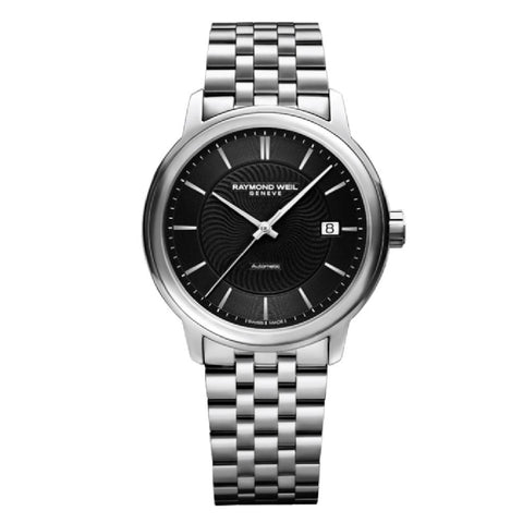 Maestro Men's Automatic Black Dial Silver Date Watch, 40mm stainless steel, black dial, silver indexes (2237-ST-20001)