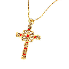 """As Is"" Jacqueline Kennedy Reproduction Simulated Ruby Cross w/Chain"