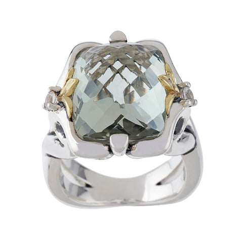 Ann King Sterling/18K 8.00 ct Green Quartz Gemstone Ring