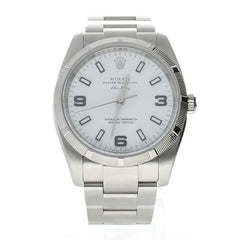 Rolex Air-King Stainless-Steel 114210 White Dial Womens 34-Mm Automatic Self-Wind Sapphire Crystal. Swiss Made Wrist Watch