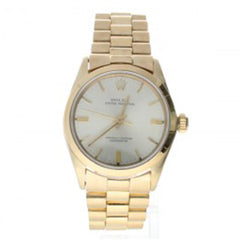 Rolex Oyster Perpetual Yellow-Gold 6548 Silver Dial Womens 31-Mm Automatic Self-Wind Sapphire Crystal. Swiss Made Wrist Watch